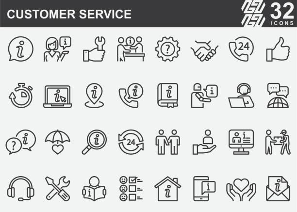 bildbanksillustrationer, clip art samt tecknat material och ikoner med ikoner för kund service linje - it support