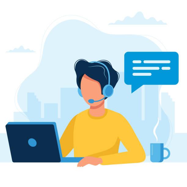 obsługa klienta. człowiek ze słuchawkami i mikrofonem z laptopem. ilustracja koncepcyjna dla wsparcia, call center. - obsługa stock illustrations