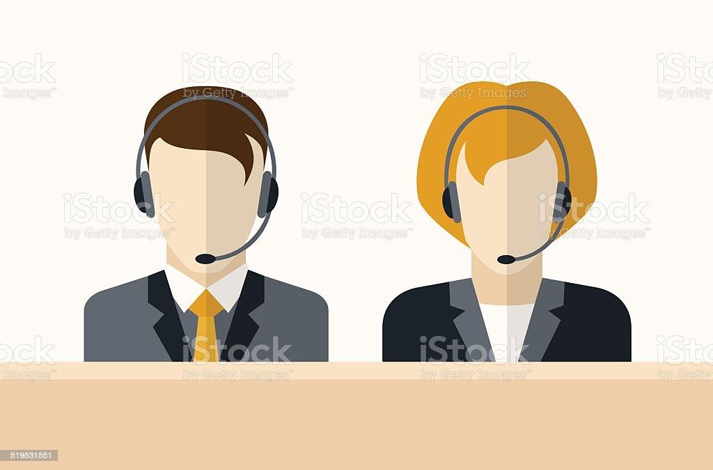 Customer service operators vector art illustration
