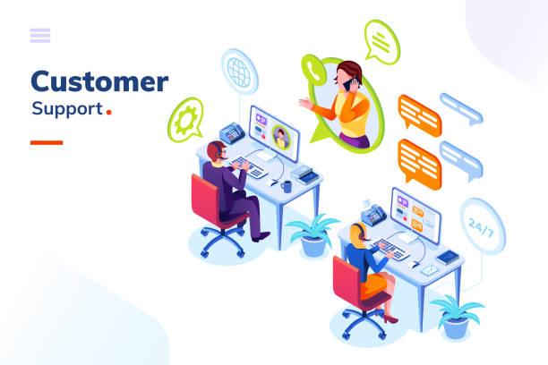 obsługa klienta, biuro obsługi telefonicznej z ludźmi - rzut izometryczny stock illustrations