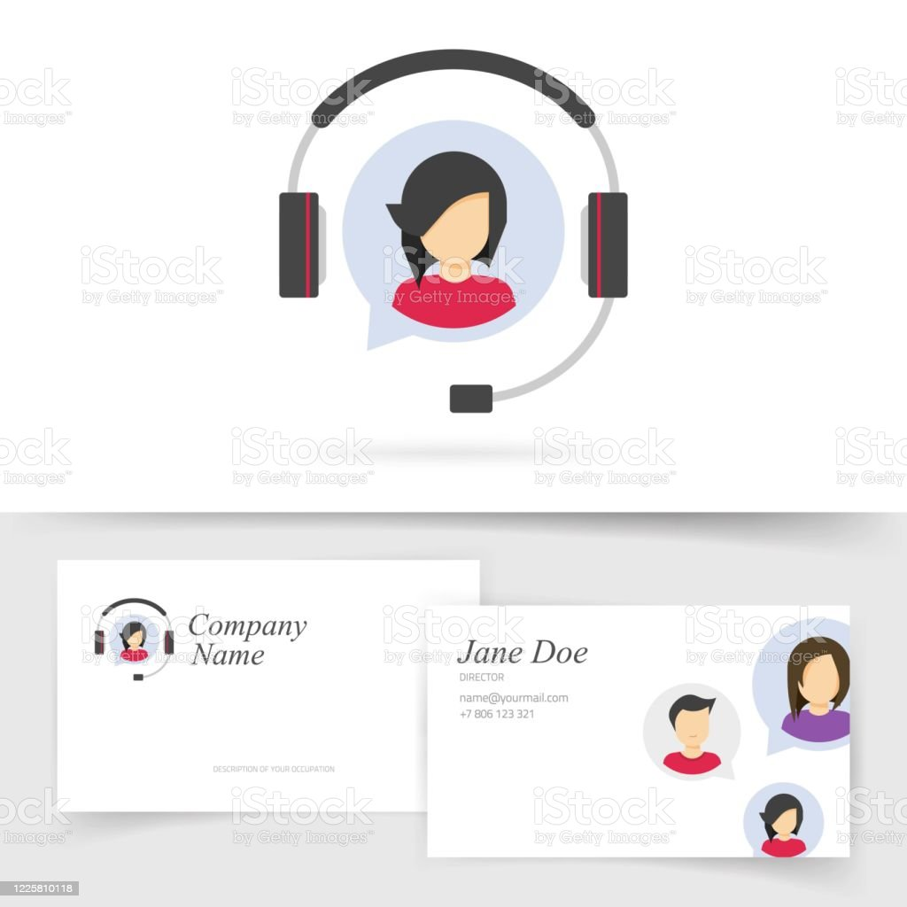 Customer Service Support Logo With Business Card Design Or Client Assistance Help Desk Agent Call Center Symbol Vector Flat Telephone Online Operator Assistant Logotype With Female Person Stock Illustration Download Image