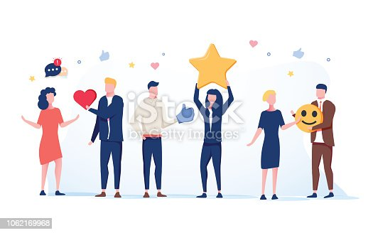 Customer Service Technical Support 24h Concept. Operator Online Characters Talking with Clients by Headset. Helpline Center. Vector illustration. Positive star feedback. Victory or classification