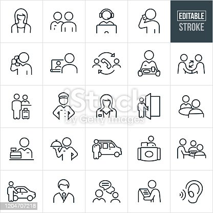 A set of customer service icons that include editable strokes or outlines using the EPS vector file. The icons include a male customer service representative, a female customer service representative, CSR on computer, customer talking on the phone, a CSR talking on the phone, online support, phone support, waitress, waiter, handshake, hotel checkin, bellhop, agent, doorman, clerk, shuttle bus, cashier, kiosk, chat, chauffeur and other related icons.