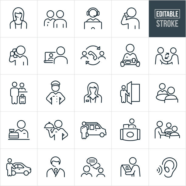 Customer Service Thin Line Icons - Editable Stroke A set of customer service icons that include editable strokes or outlines using the EPS vector file. The icons include a male customer service representative, a female customer service representative, CSR on computer, customer talking on the phone, a CSR talking on the phone, online support, phone support, waitress, waiter, handshake, hotel checkin, bellhop, agent, doorman, clerk, shuttle bus, cashier, kiosk, chat, chauffeur and other related icons. service stock illustrations