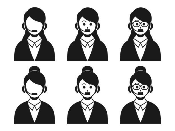 顧客サービス - オペレーター 日本人点のイラスト素材/クリップアート素材/マンガ素材/アイコン素材