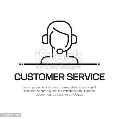 Customer Service Vector Line Icon - Simple Thin Line Icon, Premium Quality Design Element