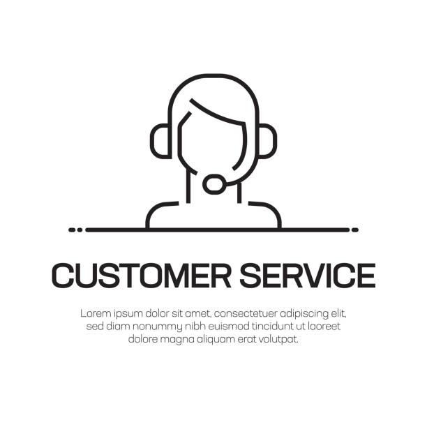 고객 서비스 벡터 라인 아이콘-간단한 얇은 라인 아이콘, 프리미엄 품질 디자인 요소 - 고객 서비스 담당자 stock illustrations