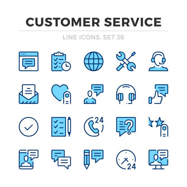 ilustrações, clipart, desenhos animados e ícones de ícones da linha do vetor do serviço de cliente ajustados. suporte ao cliente, ajuda online. design de linha fina. elementos gráficos do esboço moderno, símbolos simples do curso. ícones do serviço de atenção a o cliente - user line icon