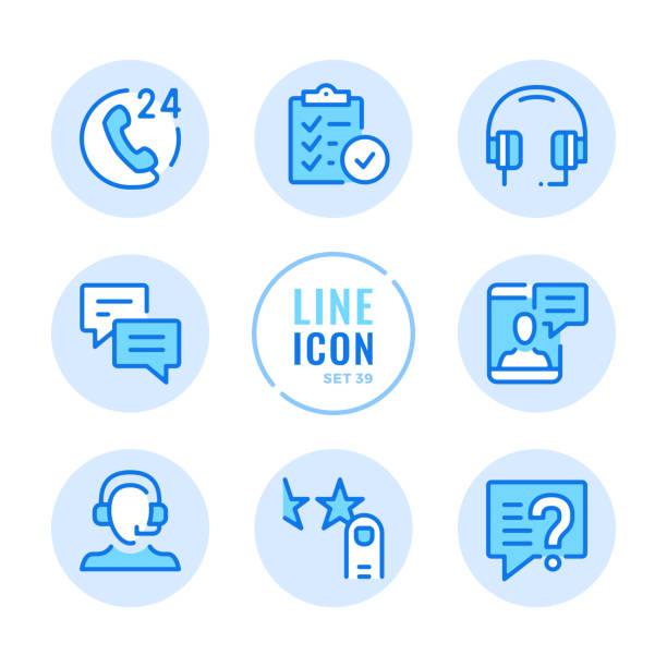 ilustrações, clipart, desenhos animados e ícones de ícones da linha do vetor do serviço de cliente ajustados. contate o suporte ao cliente, bate-papo online, ajuda, símbolos de contorno de assistência ao usuário. linear, estilo de linha fina. elementos gráficos simples modernos do esboço do curso par - call center
