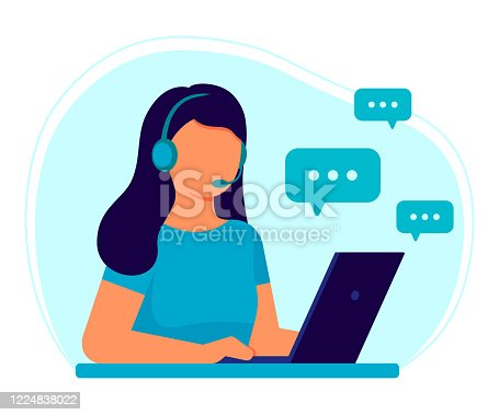 istock Customer service. Woman operator call center with headphones and microphone with laptop. Support, assistance, call center, hot line, help, response, consultation. Vector illustration flat 1224838022