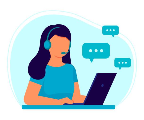 obsługa klienta. kobieta operator call center ze słuchawkami i mikrofonem z laptopem. wsparcie, pomoc, call center, hot line, pomoc, odpowiedź, konsultacje. ilustracja wektorowa płaska - obsługa stock illustrations