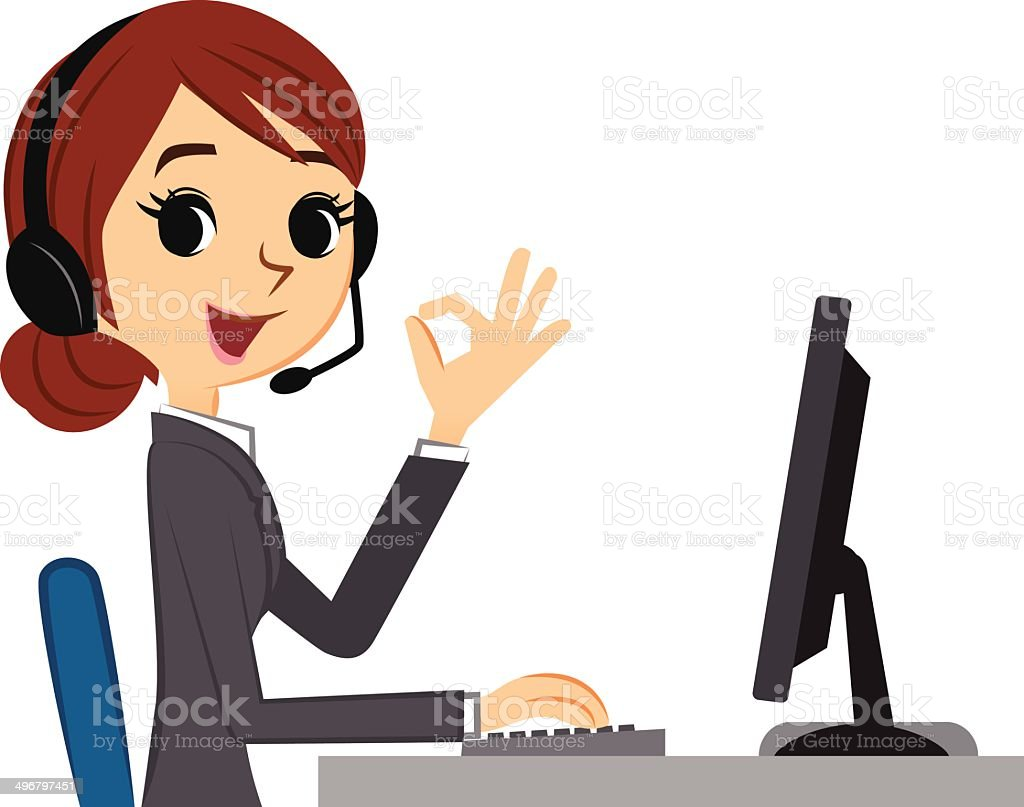 Customer service woman showing ok sign vector art illustration