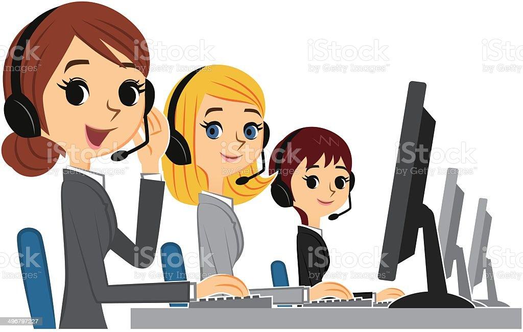 service à la clientèle de femmes - Illustration vectorielle
