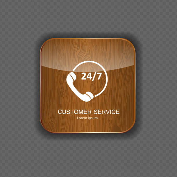 kundenservice holz anwendung icons - filzarbeiten stock-grafiken, -clipart, -cartoons und -symbole