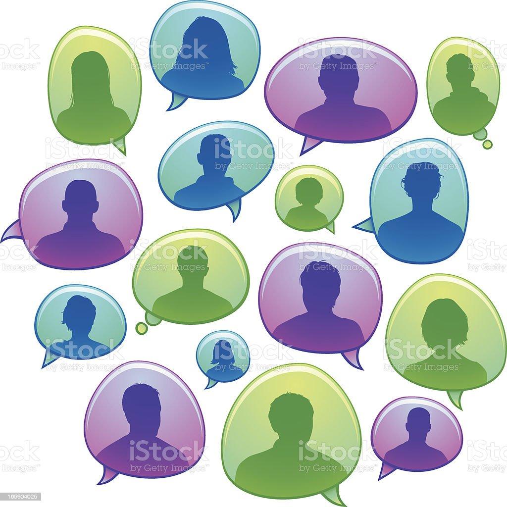 Customer speech bubbles vector art illustration