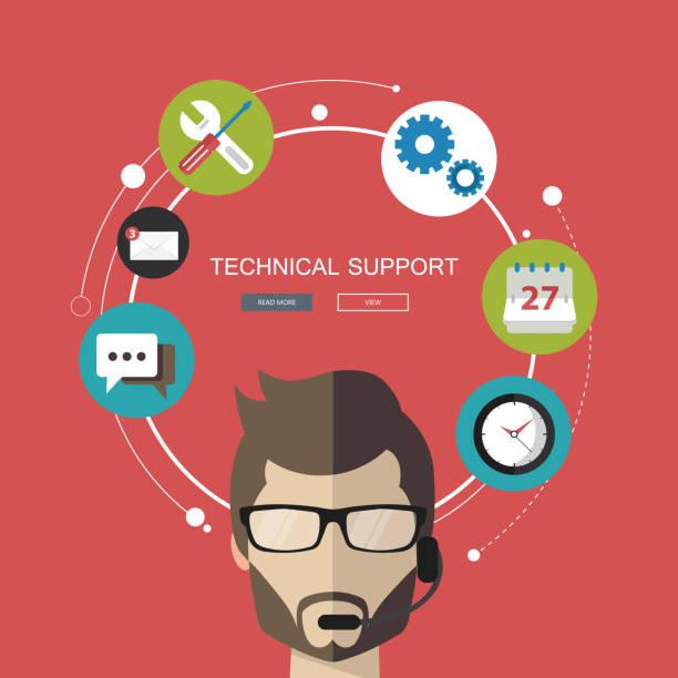 bildbanksillustrationer, clip art samt tecknat material och ikoner med kunden support hjälp. flat vektorillustration - it support