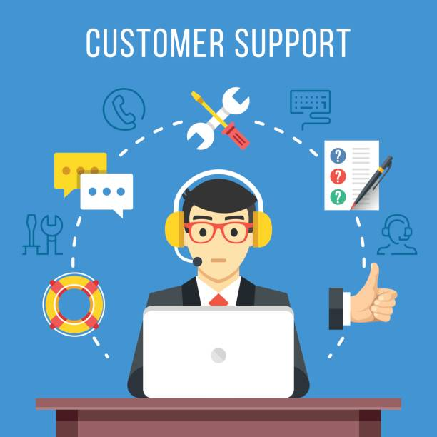 customer support. call center operator with headset at computer. flat icons and thin line icons set, modern flat design graphic elements. vector illustration - call center stock illustrations, clip art, cartoons, & icons