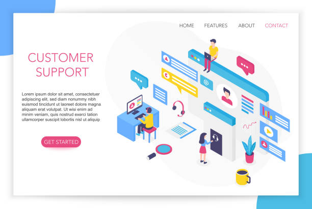 Customer support concept. Contact us. FAQ. Hotline chat consultant Helpdesk talking. Call center concept 3d isometric website landing page template vector illustration. vector art illustration