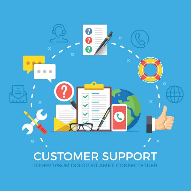 Customer support flat illustration concept. Creative flat icons set, thin line icons set, graphic elements. Modern vector illustration Customer support flat illustration concept. Creative flat icons set, thin line icons set, graphic elements for web banners, websites, infographics. Modern vector illustration call centre illustrations stock illustrations