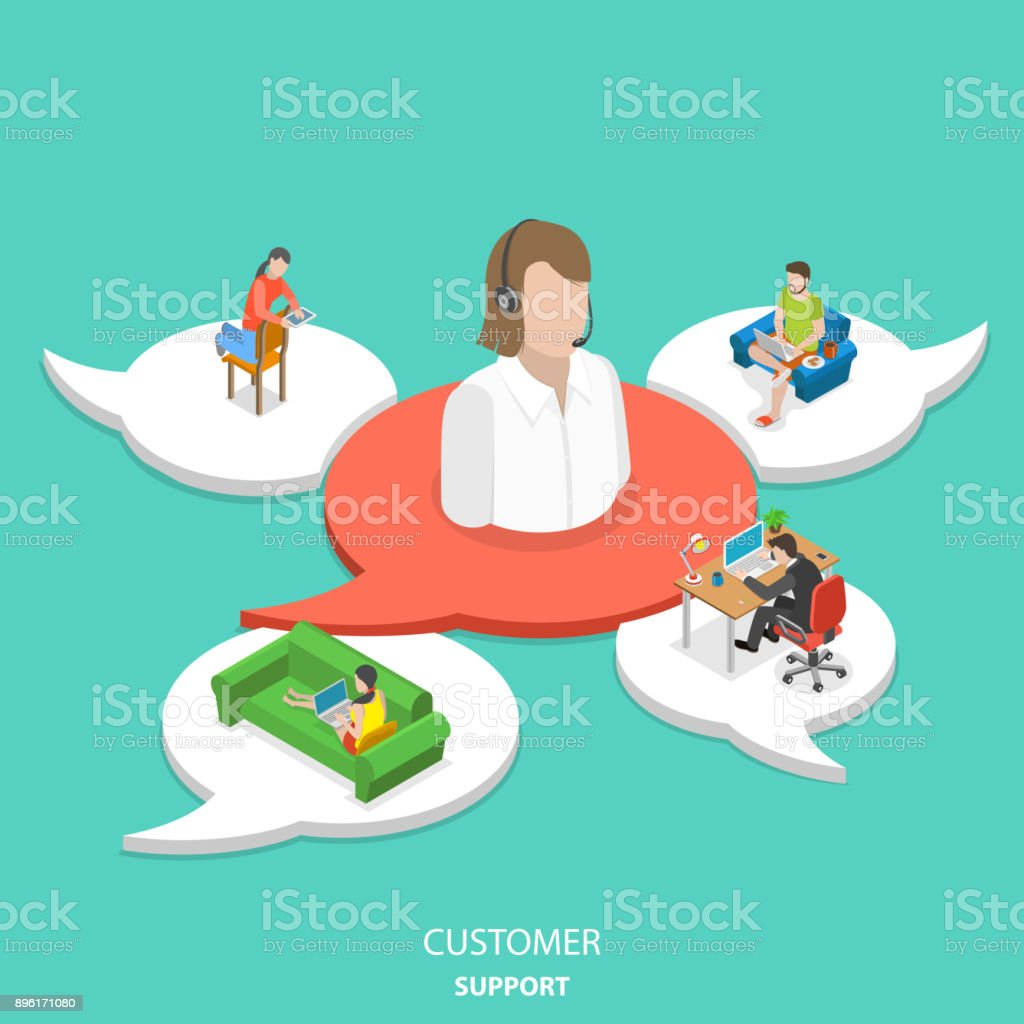Customer support flat isometric vector concept. vector art illustration