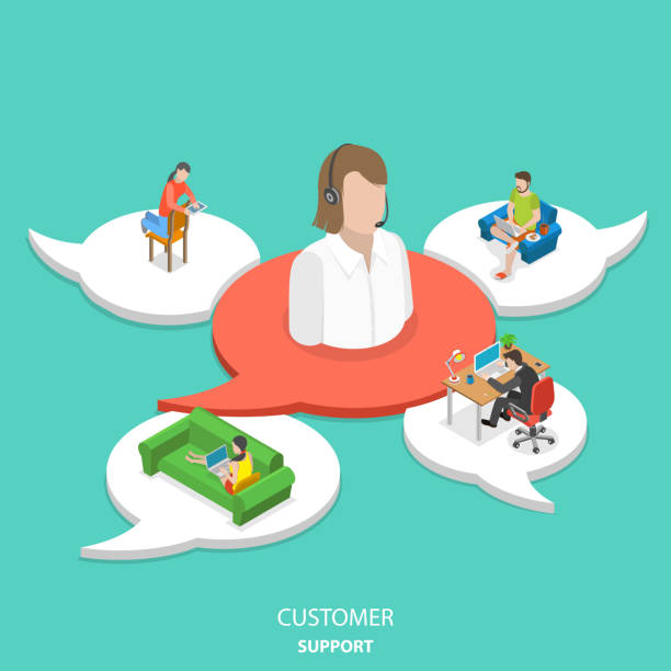 Customer support flat isometric vector concept. Customer support flat isometric vector concept. Big icon of the customer assistant on the red speech bubble and 4 white ones with customers around assistant. call centre illustrations stock illustrations