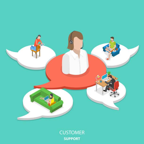 illustrations, cliparts, dessins animés et icônes de soutien à la clientèle le concept de vecteur plat isométrique. - centre d'appels