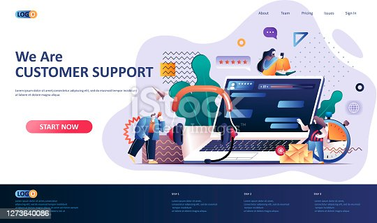istock Customer support flat landing page template. 1273640086