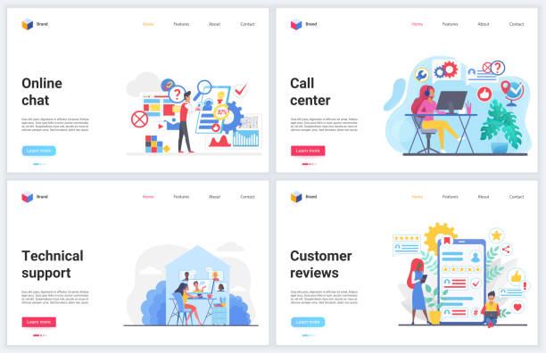 ilustrações, clipart, desenhos animados e ícones de suporte ao cliente, ajuda a chamar ilustrações vetoriais com bate-papo on-line de consultor, serviço de helpdesk de apoiador profissional - dia do cliente