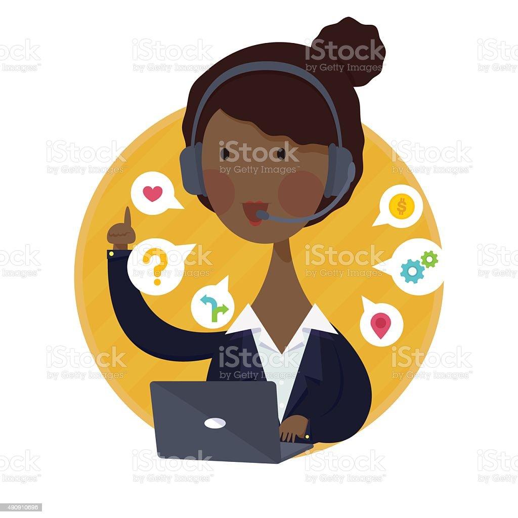 Customer Support Help Desk African American  Woman Operator Service vector art illustration