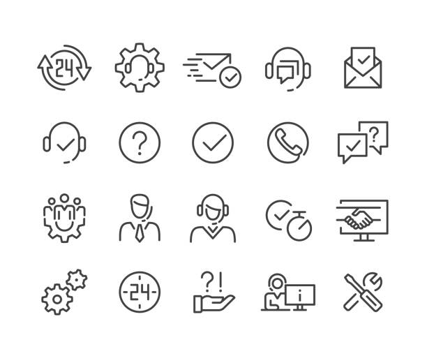 ikony obsługi klienta - seria classic line - obsługa stock illustrations