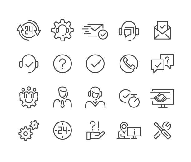 bildbanksillustrationer, clip art samt tecknat material och ikoner med kundsupportikoner - classic line series - it support