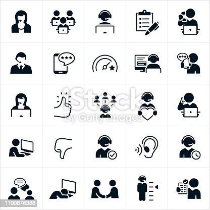 A set of customer support icons. The icons include a male and female customer support representative, administrative assistant, CSR answering the telephone, workers sitting at their computers, survey, rating from a smart phone, customers, thumb up, thumbs down customer support representatives with wearing headsets, listening ear, support rep talking on mobile phone, worker asleep at computer, support rep and customer communicating back and forth, handshake and other related icons.