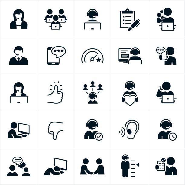 customer support icons - customer service stock illustrations