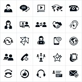 Customer support/service and technical support icons. The icons represent different methods used in customer support from telemarketing, phone support, chat, text, video, face to face, hands on, social media, SMS, blogging, email and more. The icons each have customer service related themes.