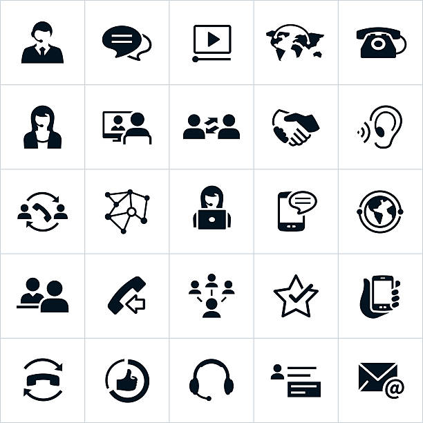 ilustrações de stock, clip art, desenhos animados e ícones de ícones de apoio ao cliente - video call