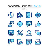 Customer support icons. Vector line icons set. Premium quality. Simple thin line design. Stroke, linear style. Modern outline symbols, pictograms.