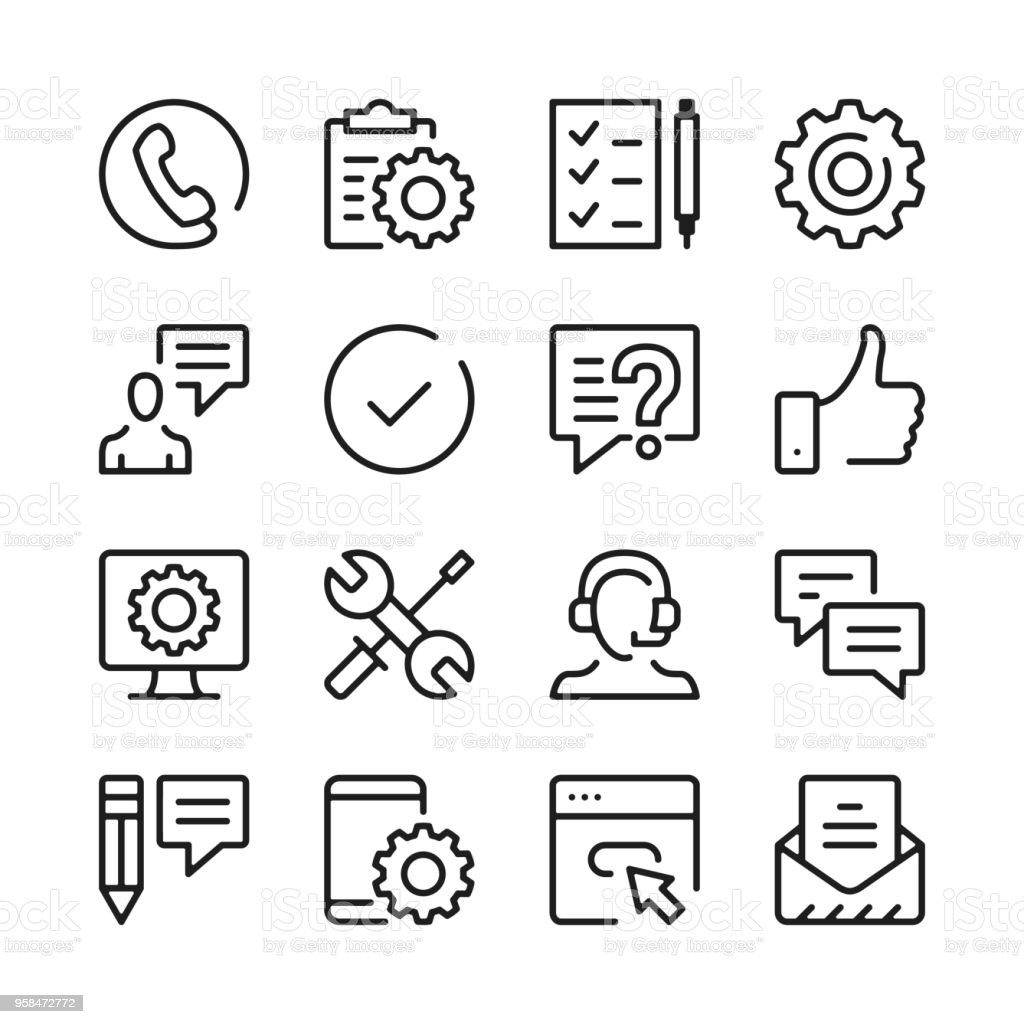 Customer support line icons set. Modern graphic design concepts, simple outline elements collection. Vector line icons
