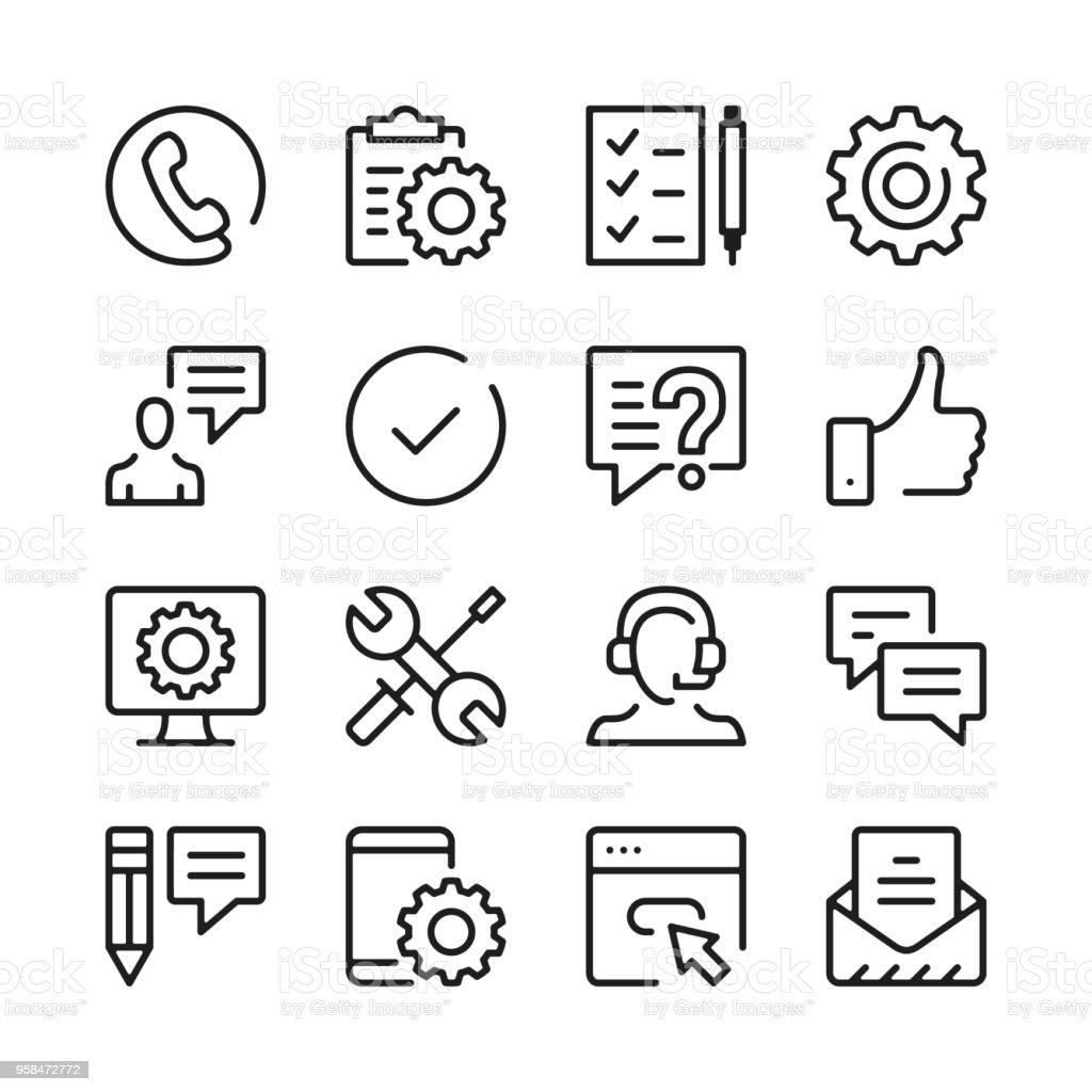 Cliente soporte línea iconos conjunto. Conceptos de diseño gráfico moderno, colección de elementos de contorno simple. Iconos de línea del vector - ilustración de arte vectorial