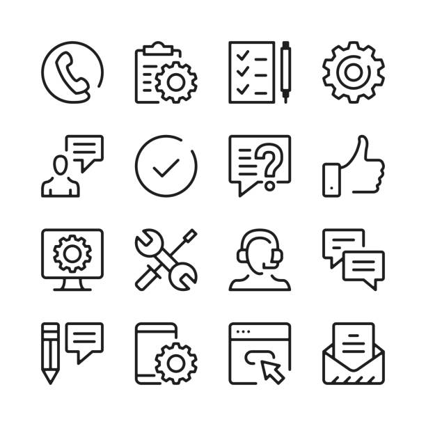 illustrazioni stock, clip art, cartoni animati e icone di tendenza di customer support line icons set. modern graphic design concepts, simple outline elements collection. vector line icons - icona line