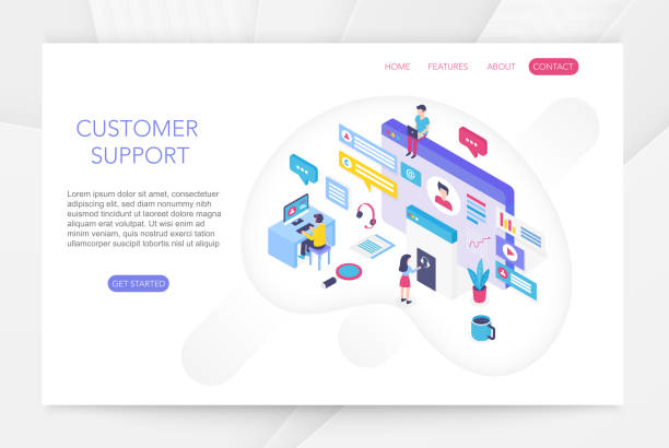 Customer support, online technical consumer assistance, technical service concept 3d isometric infographics vector illustration. People interacting with virtual screen charts. vector art illustration