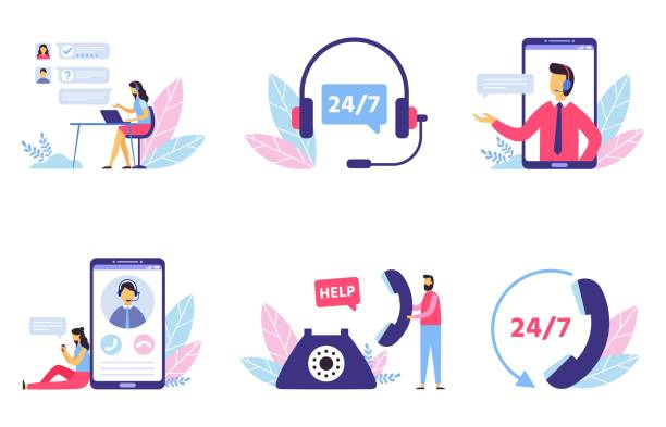 customer support. personal assistant service, person advisor and helpful advice services flat vector illustration set - помощь stock illustrations