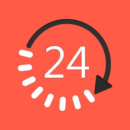 24/7 customer support service icon