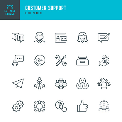 Customer Support - thin line vector icon set. Pixel perfect. The set contains icons: Contact Us, Life Belt, IT Support, Support, 24 Hrs Telephone, Text Messaging.