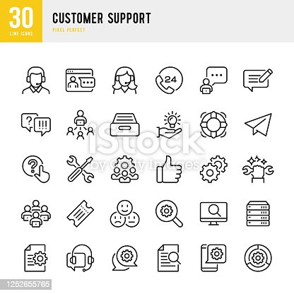 Customer Support - thin line vector icon set. 30 linear icon. Pixel perfect. The set contains icons: Contact Us, Life Belt, Support, 24 Hrs Telephone, Text Messaging, Tech Team, Like Button, Ticket.
