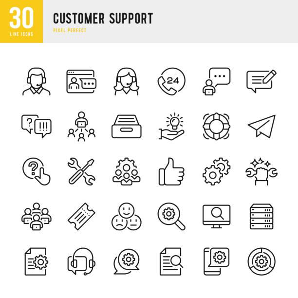 obsługa klienta - zestaw ikon wektorowych cienkich linii. piksel idealny. zestaw zawiera ikony: skontaktuj się z nami, life belt, support, 24 godziny telefon, wiadomości tekstowe, bilet. - obsługa stock illustrations