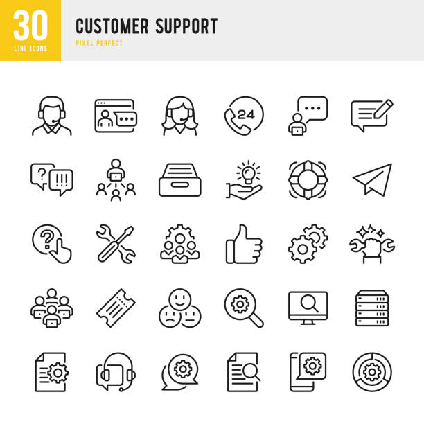 Customer Support - thin line vector icon set. Pixel perfect. The set contains icons: Contact Us, Life Belt, Support, 24 Hrs Telephone, Text Messaging, Ticket. Customer Support - thin line vector icon set. 30 linear icon. Pixel perfect. The set contains icons: Contact Us, Life Belt, Support, 24 Hrs Telephone, Text Messaging, Tech Team, Like Button, Ticket. service stock illustrations