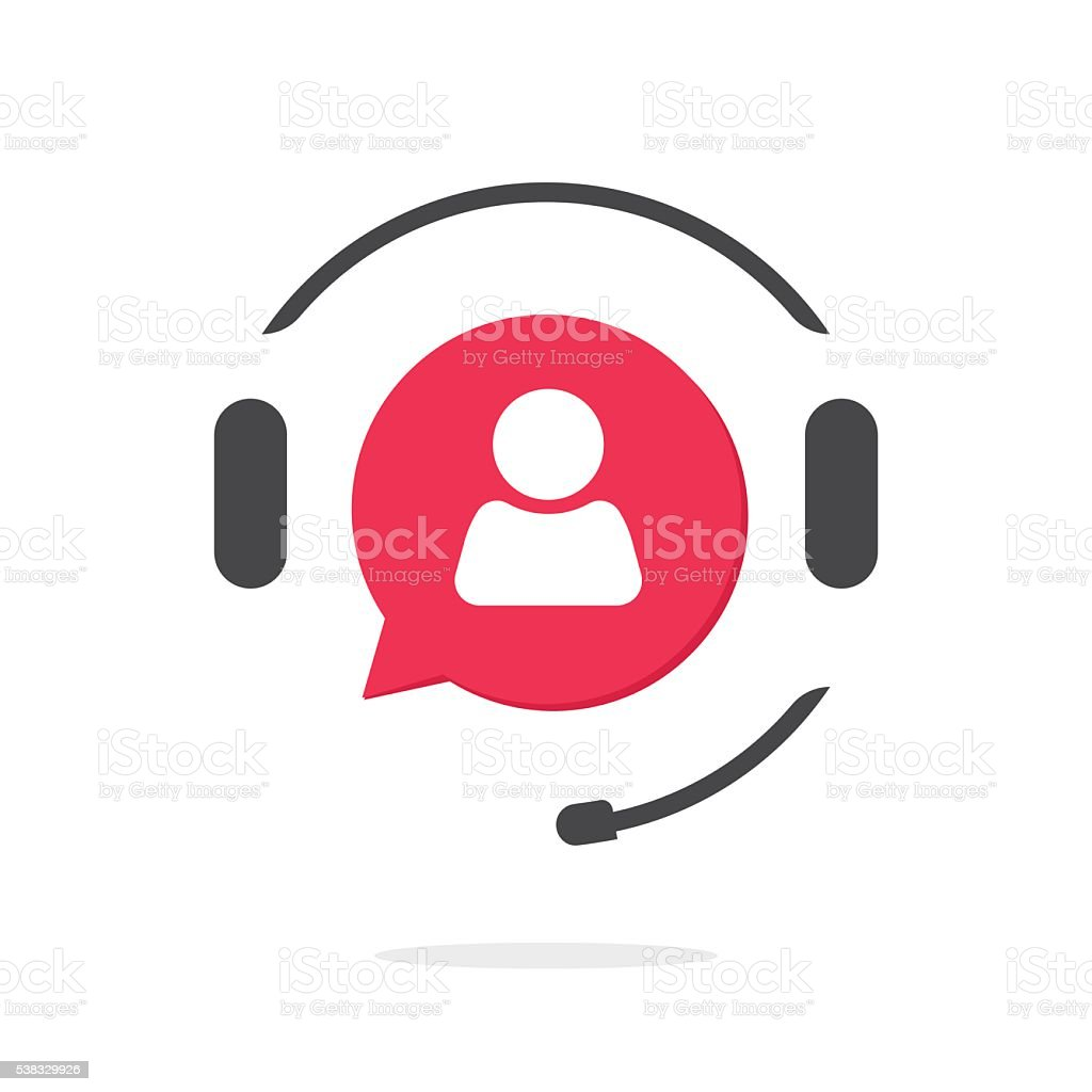 Customer support vecot icon, phone assistant logo vector art illustration
