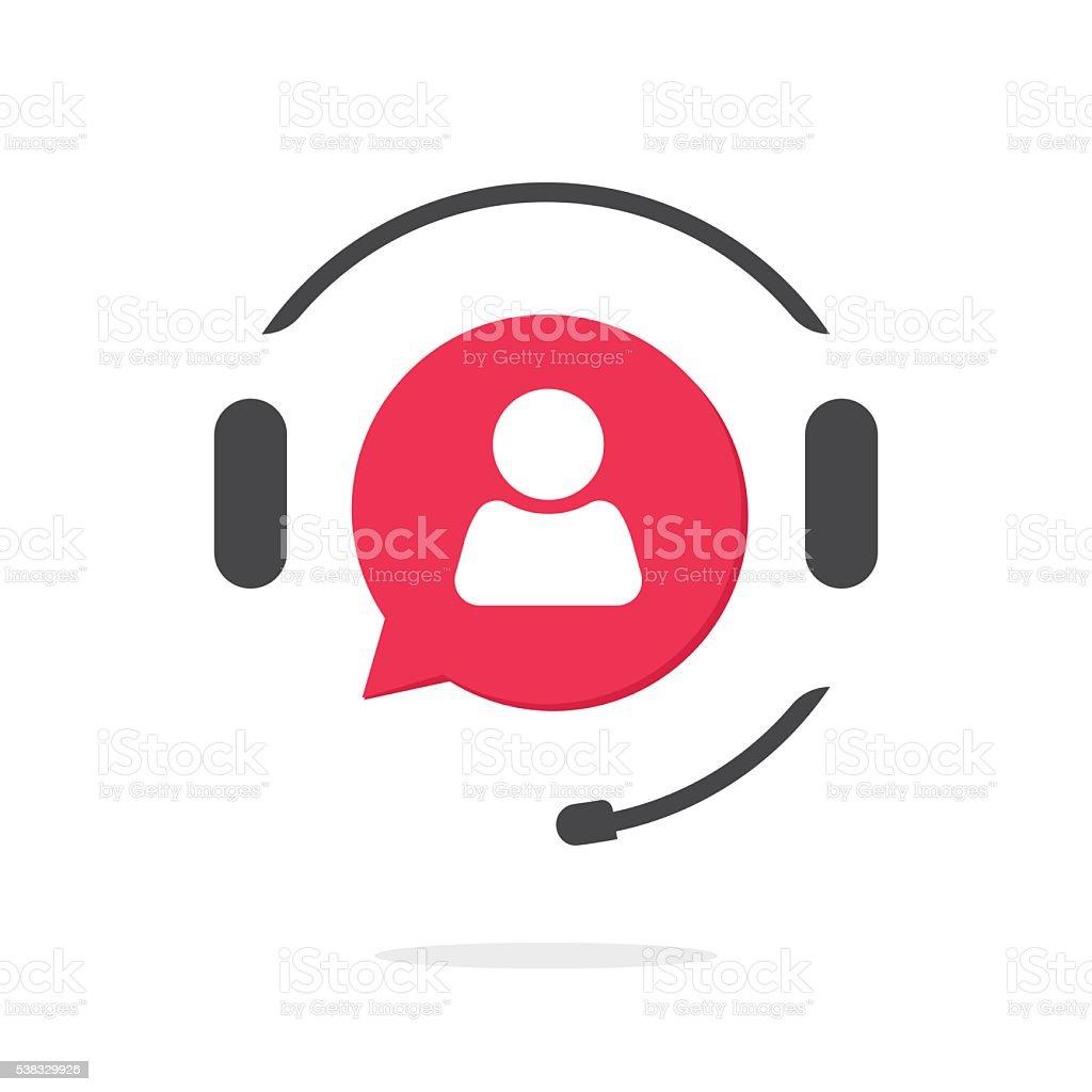 Servicio de asistencia al cliente vecot icono y logotipo Asistente de teléfono - ilustración de arte vectorial