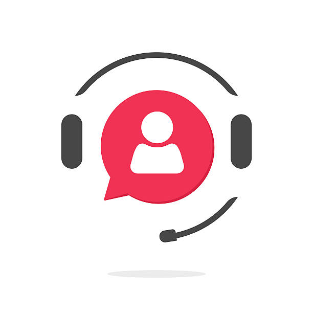 customer support vecot icon, phone assistant logo - call centre stock illustrations