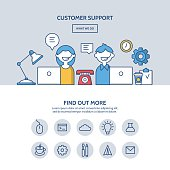 Customer support website hero image concept. One page website design